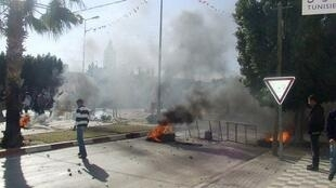 The site where protesters clashed with police near Sidi Bouzid in Tunis
