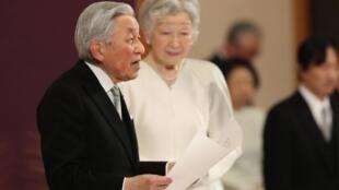 日本天皇明仁發表退位講話。2019年4月30日