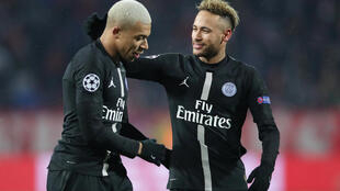Paris St Germain's Kylian Mbappe with Neymar