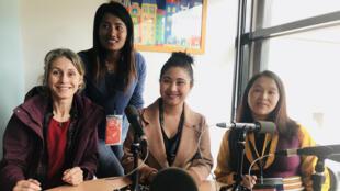 Stéphanie Bodet, Doma Sherpa, Kalpana Maharajan et Yangji Sherpa réunies au Festival du Grand Bivouac d'Albertville.