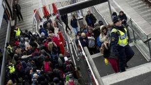 Cảnh sát hướng dẫn cho những người nhập cư từ Đan Mạch đến Thụy Điển ngày 19/11/2015.