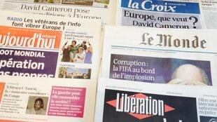 Primeira página dos diários franceses de 28/05/2015