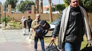 Egyptian Coptic Christians arrive with their belongings to take refuge at the Evangelical Church in the Suez Canal city of Ismailiya on February 25, 2017.