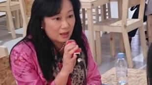 台灣行政院環境保護署溫室氣體管理室執行秘書簡慧貞博士接受法廣專訪,2016年11月15日,摩洛哥馬拉喀什氣候會議現場。