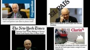 Os principais jornais do mundo repercutiram a morte do ministro do Supremo Tribunal Federal (STF).