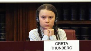 Greta Thunberg in the Senate in Rome, 18 April 2019.