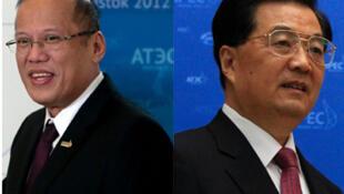 Tổng thống Philippines Benigno Aquino (T), chủ tịch Trung Quốc Hồ Cẩm Đào