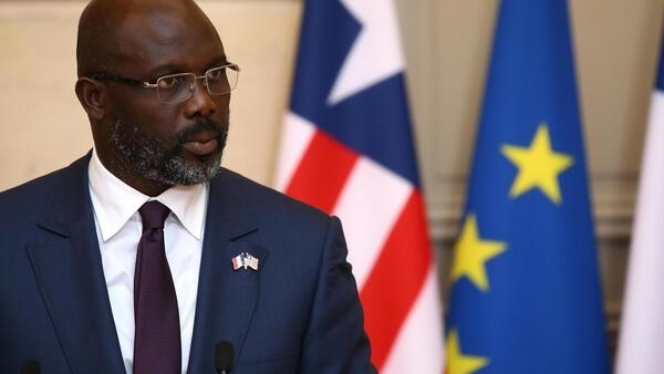 Liberia President George Weah at a joint press conference at the Elysee Palace with French President Emmanuel Macron