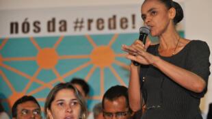 A ex-senadora Marina Silva fala no lançamento de seu novo partido, 16/02/13