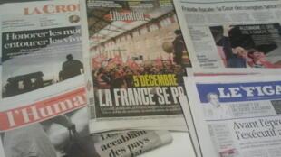 Primeiras páginas dos jornais franceses 02 de dezembro de 2019