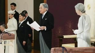 Emperor Akihito delivers his abdication speech in Tokyo, 30 April 2019