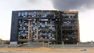 A building after clashes between rival militias in an area at Alswani road in Tripoli