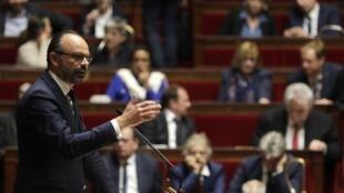 Le Premier ministre Édouard Philippe s'adressant à l'Assemblée nationale, le 9 avril 2019.