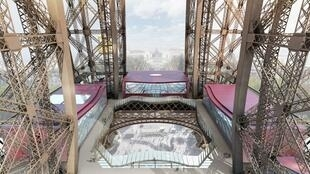 Vista geral do projeto de modificação do primeiro andar da Torre Eiffel