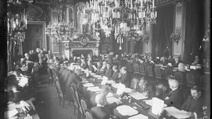 The first day of work on the WW1 Peace Conference, 18 January 1919, The Clock Room at the French Foreign Ministry, Paris
