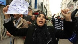 Thousands of Tunisians took to the streets on Wednesday to protest the new government