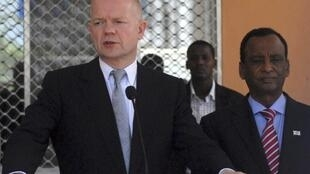 British Foreign Secretary William Hague addresses a news conference during a visit to Mogadishu