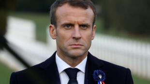 O presidente francês, Emmanuel Macron, em um dos campos de batalha da Primeira Guerra Mundial perto de Verdun, no nordeste da França.