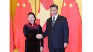圖為越南越通社發中國國家主席習近平在北京會見越南國會主席阮氏金銀照片
