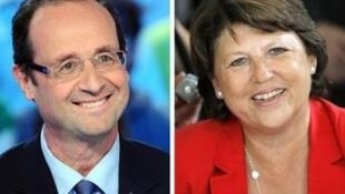 François Hollande (L) and  Martine Aubry