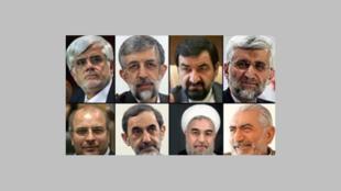 Los ocho candidatos a la presidencia de Irán.
