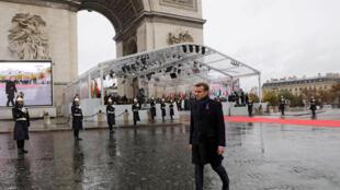 一戰停戰百年 法國總統馬克龍在凱旋門