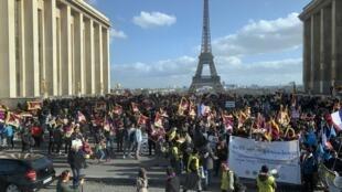 海外藏人於法國巴黎紀念310事件60周年資料圖片