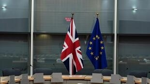 British Union Jack and EU flags are pictured before the meeting with Britain's Brexit Secretary Stephen Barclay and European Union's chief Brexit negotiator Michel Barnier at the EU Commission headquarters in Brussels, Belgium