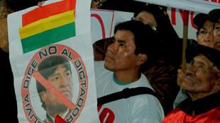 Manifestación contra la reelección del presidente Evo Morales en La Paz.