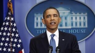 Le président américain, Barack Obama, lors de la réunion consacrée à la dette américaine, le 11 juillet 2011, à Washington.