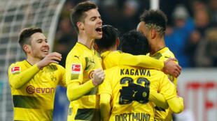 L'équipe de Borussia Dortmund, en décembre 2017.