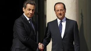 Экс-президент Франции Николя Саркози и президент Пятой Республики Франсуа Олланд