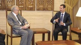 Syrian President Bashar al-Assad meets UN envoy Lakhdar Brahimi, who proposed a, Eid ceasefire