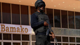 A Malian soldier stands guard at the international conference center of Bamako ahead of France-Africa summit in Bamako, Mali, January 12, 2017.