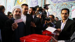 El moderado Hasan Rohani, artífice del acuerdo nuclear con Occidente, busca la reelección. Este viernes 19 de Mayo de 2017.