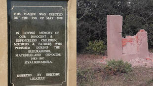 The Gukurahundi plaque installed (l) in Maphisa area, Bhlagwe, Zimbabwe; the plaque destroyed (r) by vandals, days after it was erected