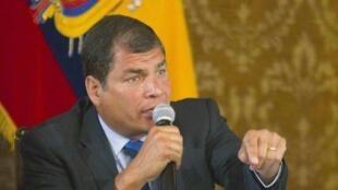 El presidente de Ecuador, Rafael Correa, durante una conferencia de prensa en el palacio presidencial de Quito, el 22 de enero de 2014.
