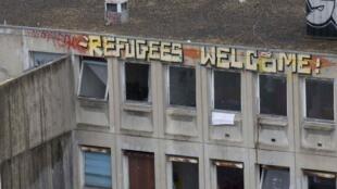 Le squat de migrants de l'ancien lycée Jean Quarré, dans le XIXe arrondissement de Paris avant son évacuation, le 22 octobre 2015.