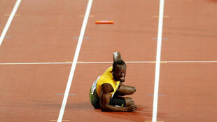 Usain Bolt of Jamaica during the 4x100m final.