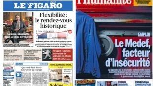 Capas dos jornais franceses Le Figaro e L'Humanité desta quinta-feira, (10).