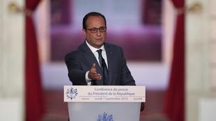 French President Francois Hollande at the press conference on Monday