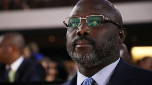 President George Weah during a conference in Paris, 12 November 2018.