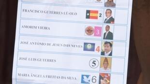 Boletim de voto das eleições presidenciais em Timor Leste.
