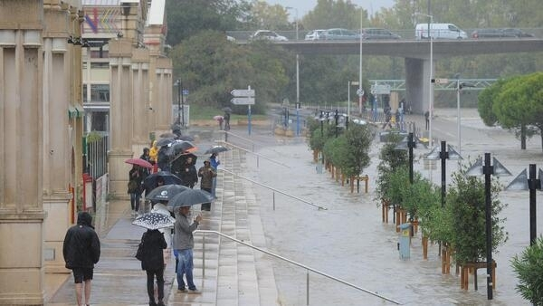 Montpellier is flooded by the River Lez on Monday