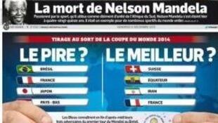 Capa do jornal esportivo francês L'Équipe desta sexta-feira, dia 6 de dezembro.