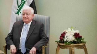 Iraqi President Fuad Masum before meeting US Secretary of State John Kerry on Wednesday