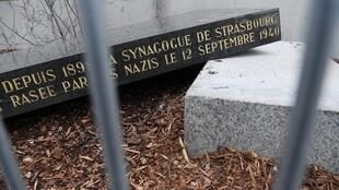 The memorial stone marking the site of Strasbourg's Old Synagogue, which was destroyed by the Nazis in World War II, is pictured after it was vandalised overnight on March 2, 2019 in Strasbourg, eastern France.