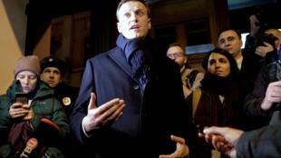 Alexei Navalny, no último domingo (24), ao apresentar sua candidatura às eleições presidenciais russas.