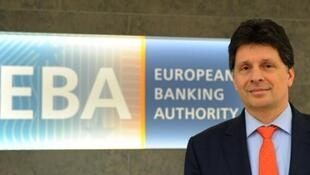 European Banking Authority (EBA) chief Adam Farkas poses for a picture at the EBA offices in London's Canary Wharf financial district on March 23, 2017.