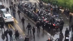 The clashes near the synagogue on Paris's rue de la Roquette on 13 July
